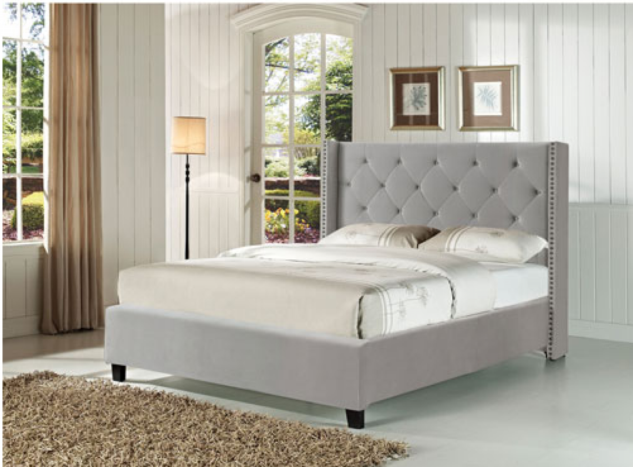 Serta Sherry Collection Transitional Upholstered Bed - Double - Grey
