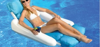 Swimline SunChaser Luxury Inflatable Pool Lounger Float - Blue/White