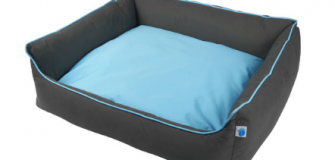 Totally Pooched Explore Bolster Pet Bed - Medium - Dark Grey/Blue
